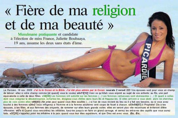 juliette boubaaya miss picardie miss france 2010 et des extraits de la religion dont elle est si fière